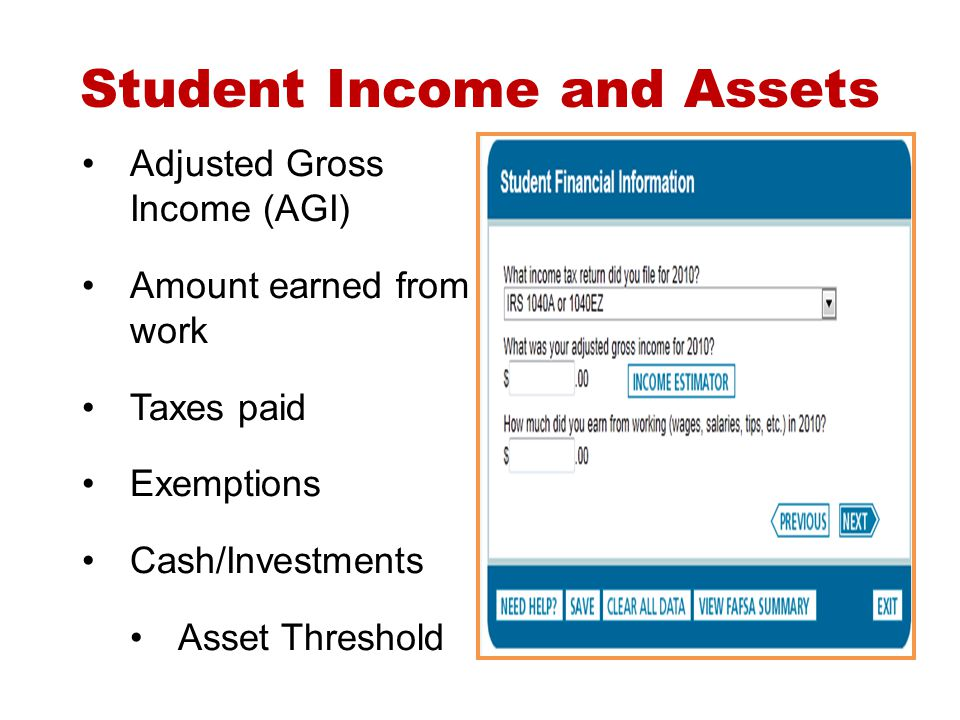 Student Income and Assets