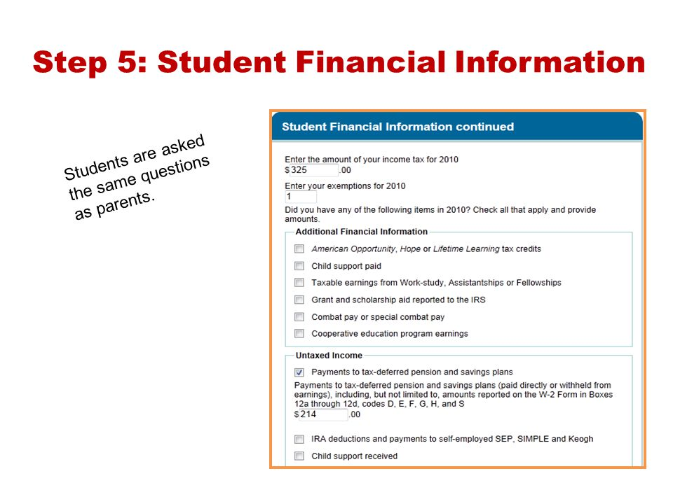 Step 5: Student Financial Information