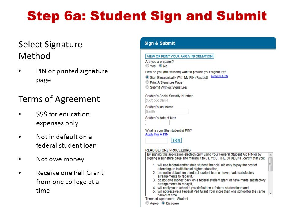 Step 6a: Student Sign and Submit