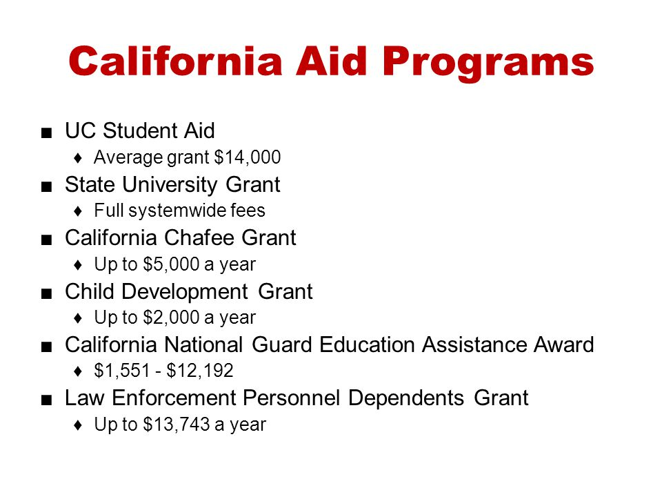 California Aid Programs