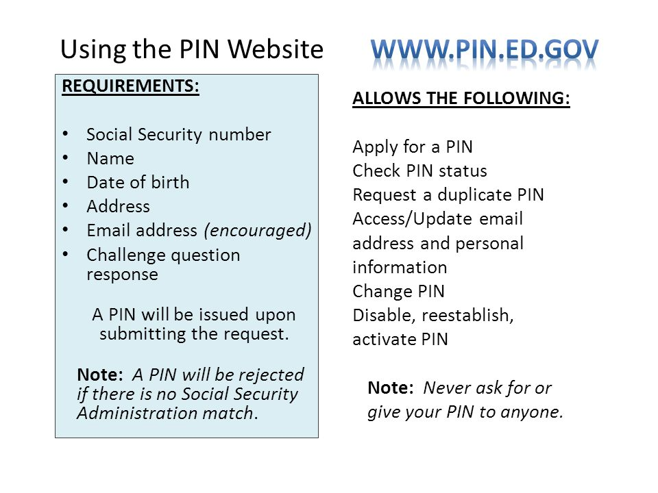 Using the PIN Website www.pin.ed.gov
