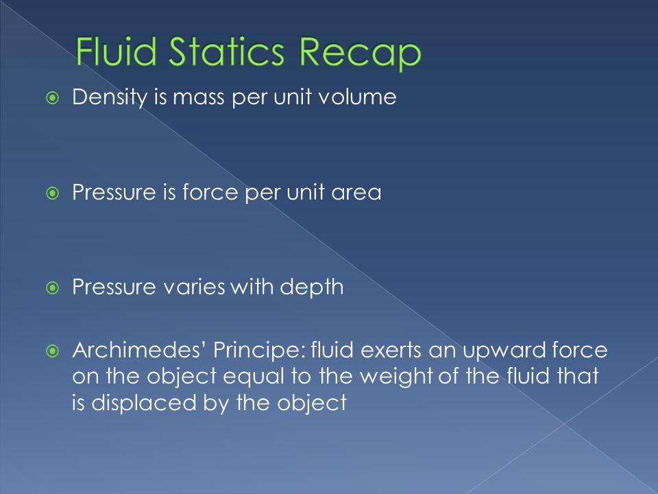 Fluid Statics Recap Density is mass per unit volume