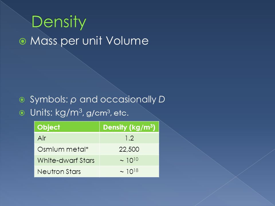 Density Mass per unit Volume Symbols: ρ and occasionally D