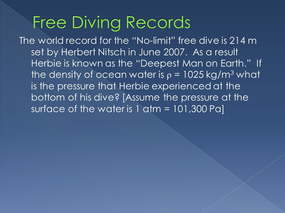 Free Diving Records