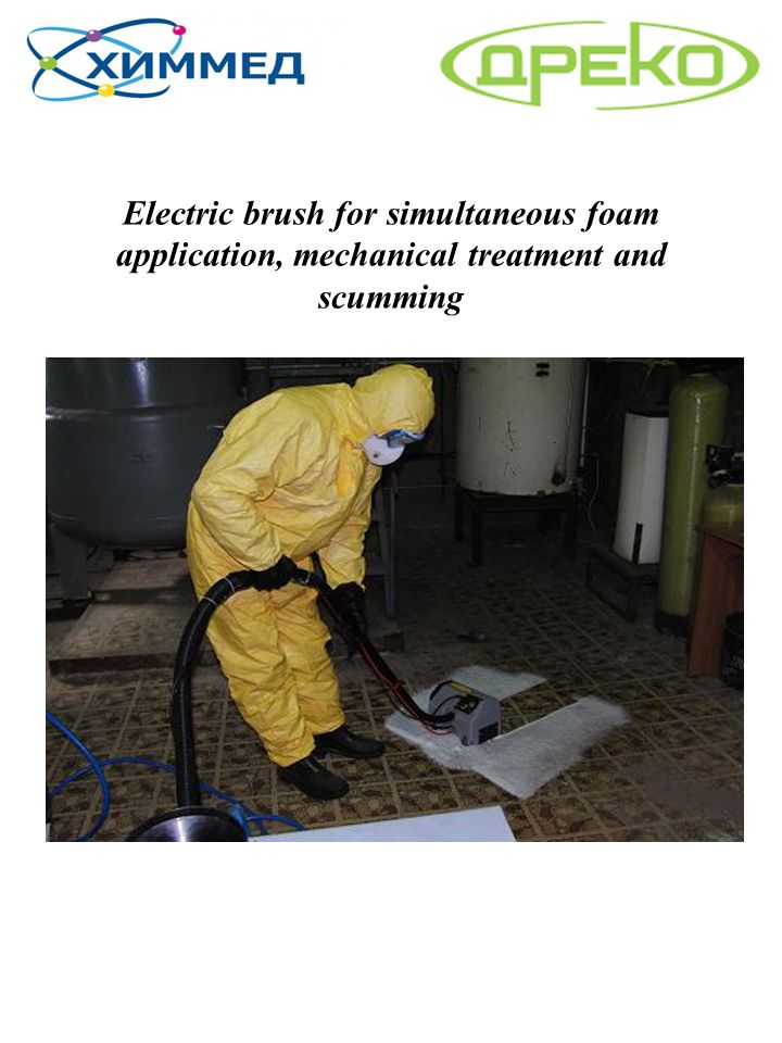 Electric brush for simultaneous foam application, mechanical treatment and scumming