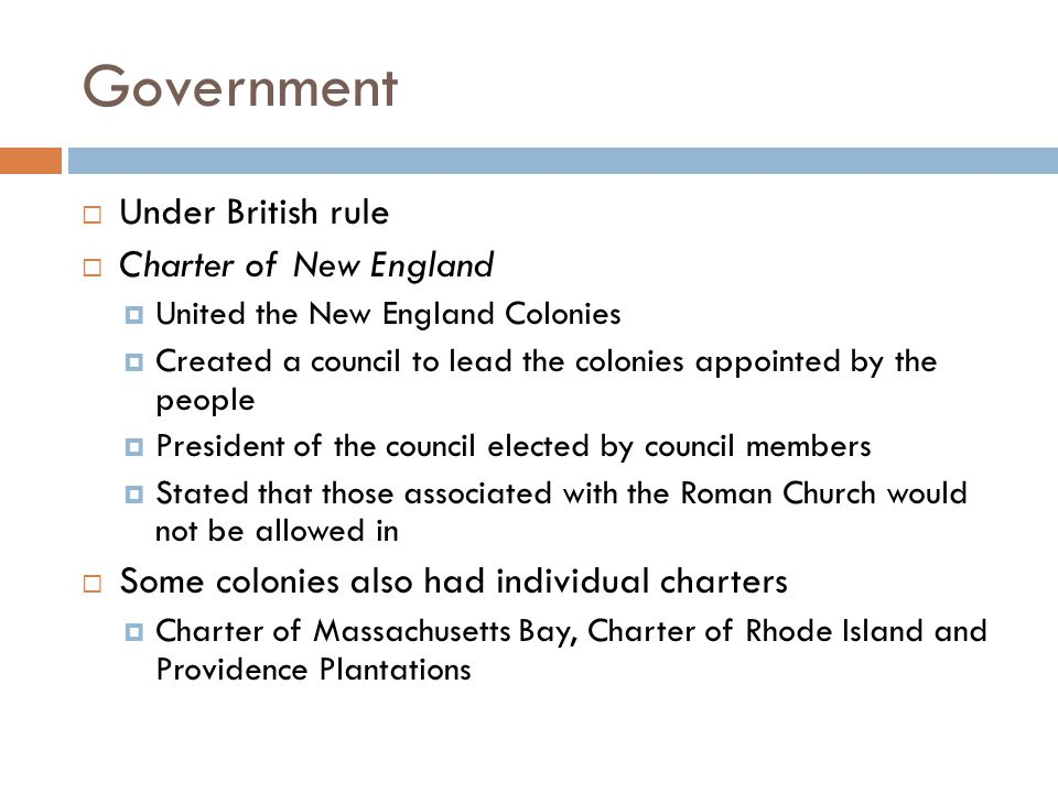 Government Under British rule Charter of New England