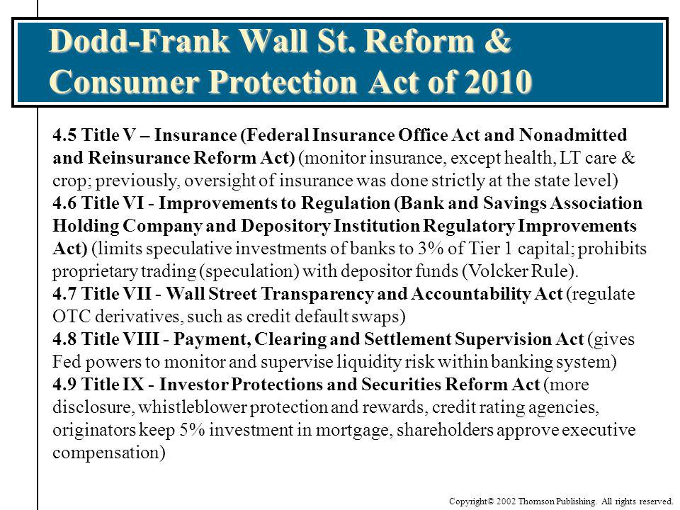 Dodd-Frank Wall St. Reform & Consumer Protection Act of 2010