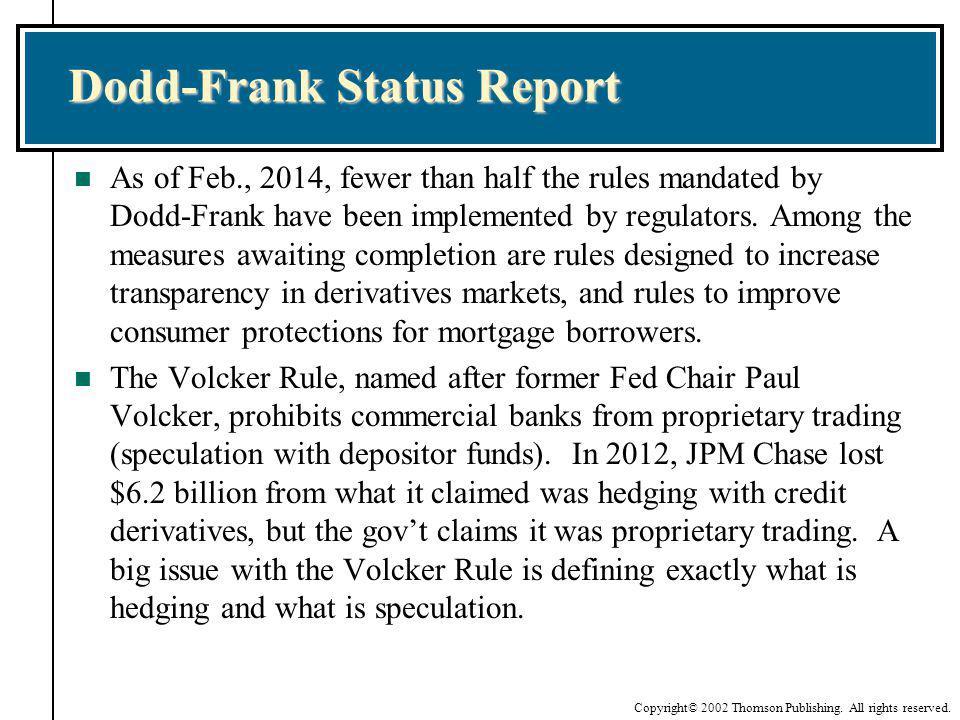 Dodd-Frank Status Report