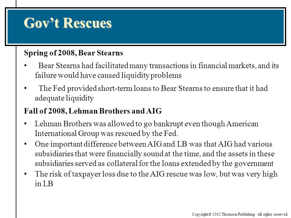 Gov't Rescues Spring of 2008, Bear Stearns