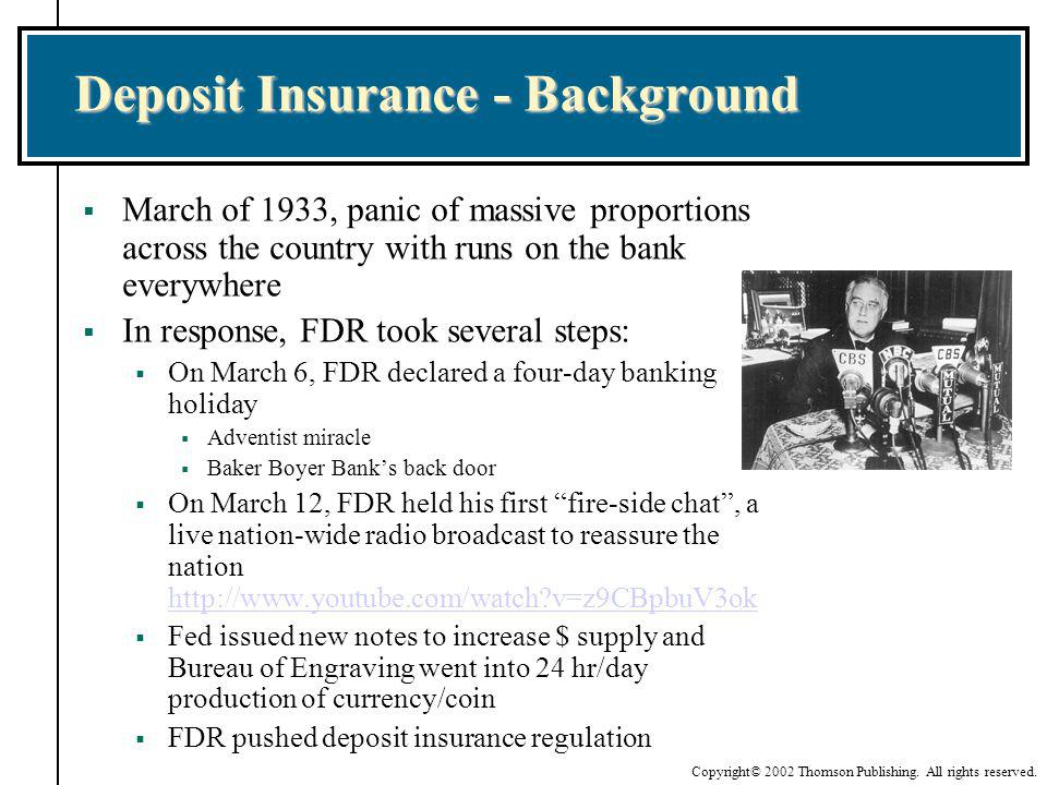 Deposit Insurance - Background