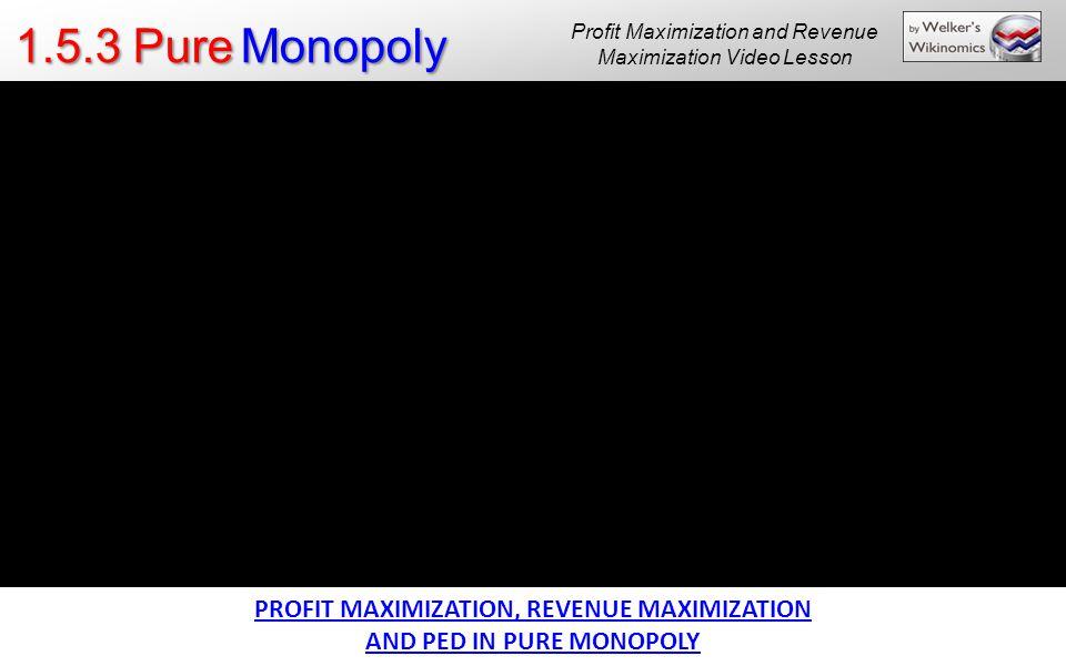 PROFIT MAXIMIZATION, REVENUE MAXIMIZATION AND PED IN PURE MONOPOLY