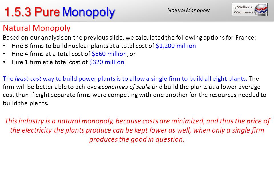 1.5.3 Pure Monopoly Natural Monopoly