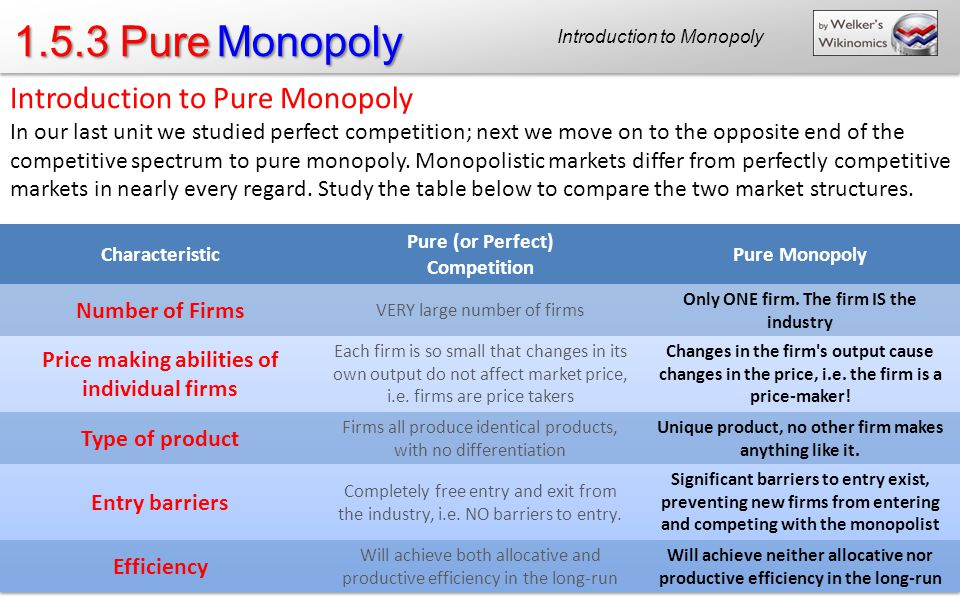 1.5.3 Pure Monopoly Introduction to Pure Monopoly