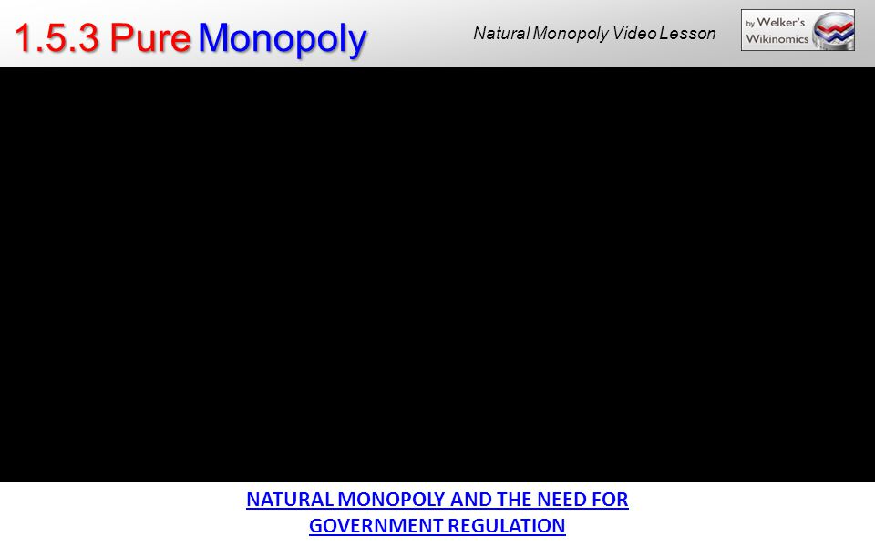 NATURAL MONOPOLY AND THE NEED FOR GOVERNMENT REGULATION