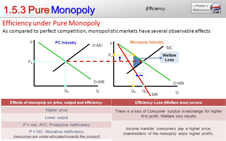 1.5.3 Pure Monopoly Efficiency under Pure Monopoly