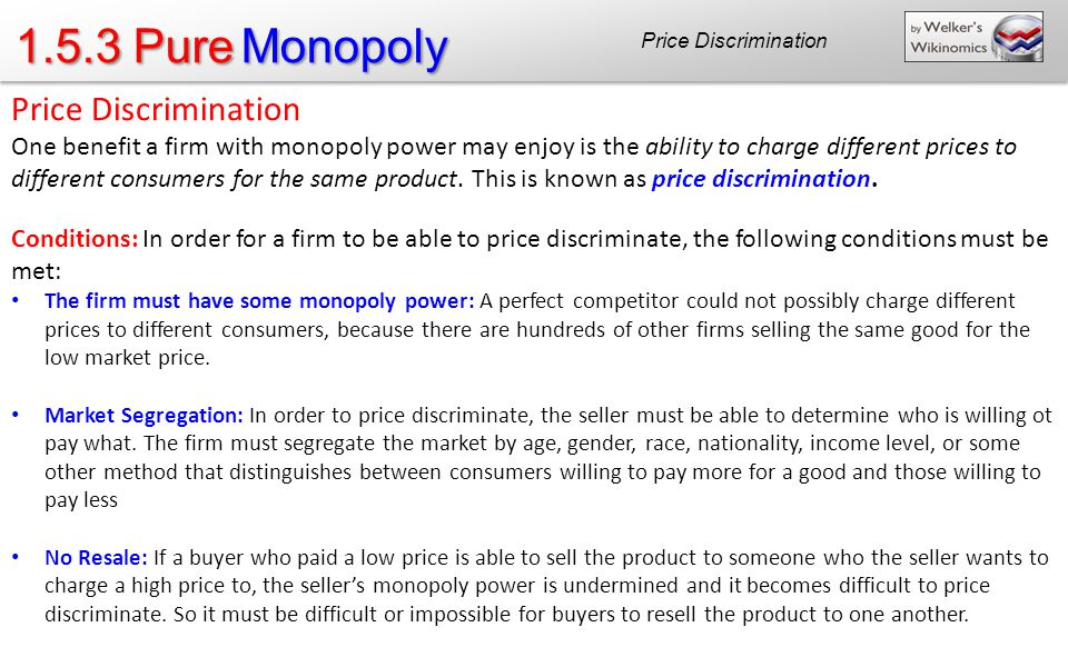 1.5.3 Pure Monopoly Price Discrimination