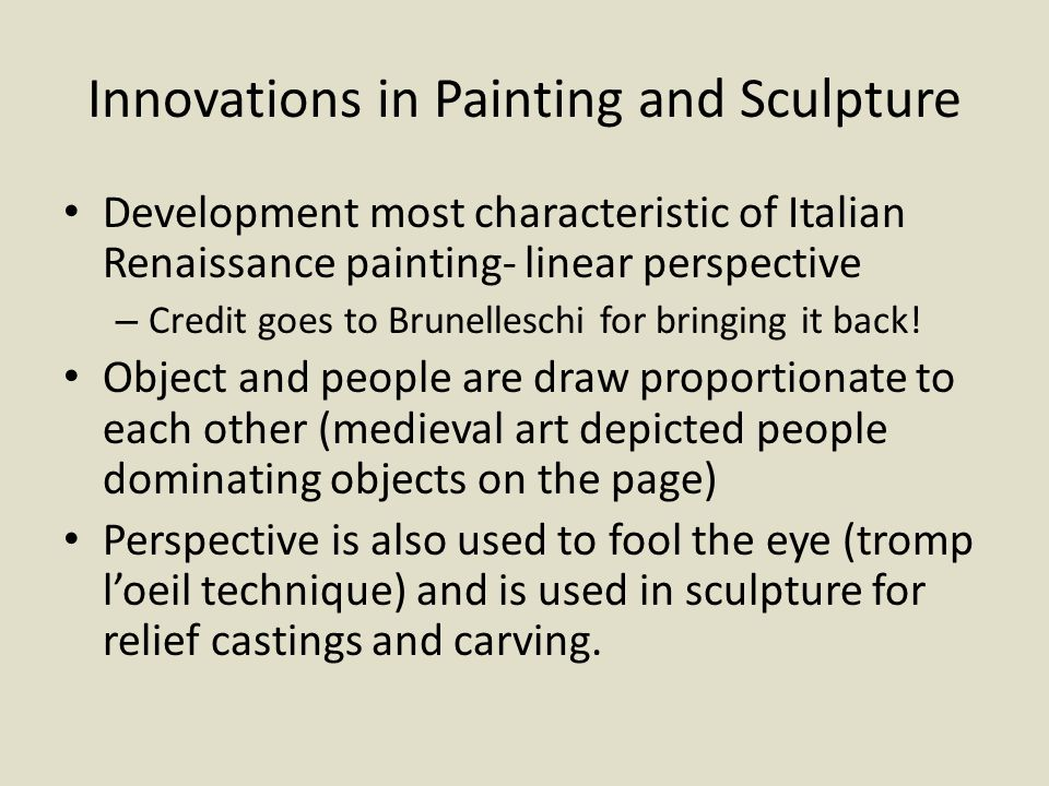 Innovations in Painting and Sculpture