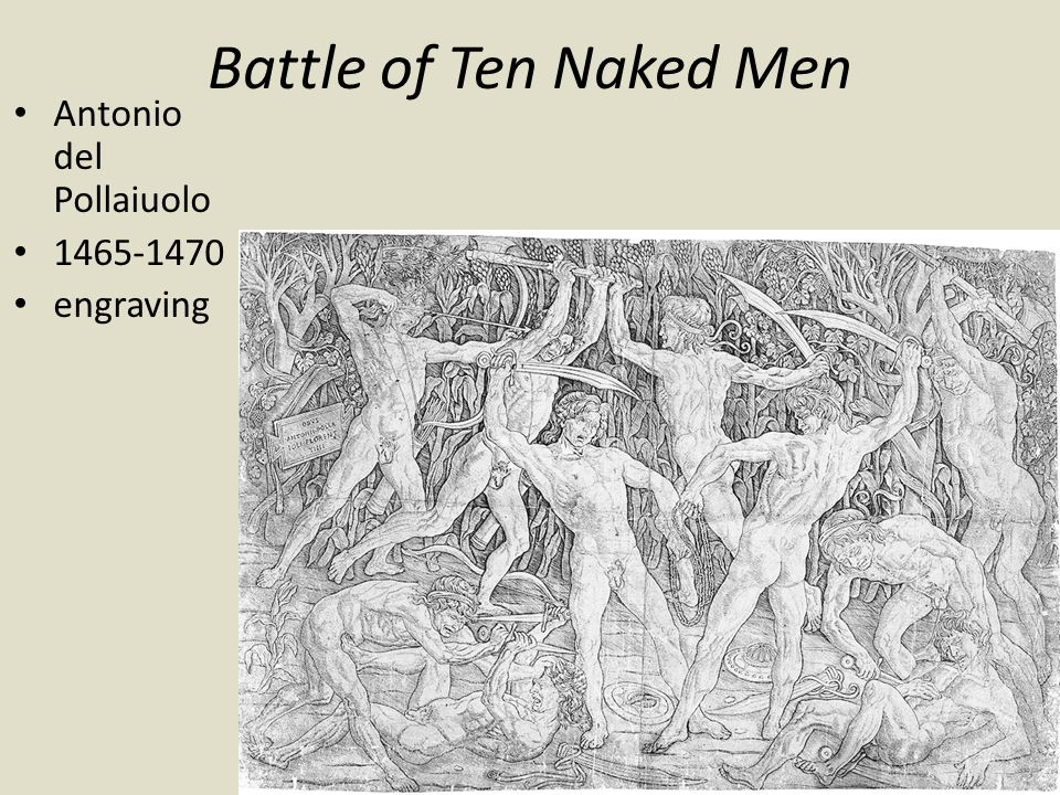 Battle of Ten Naked Men Antonio del Pollaiuolo 1465-1470 engraving