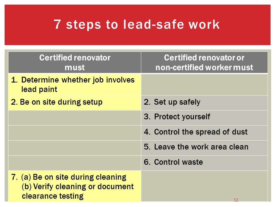 7 steps to lead-safe work
