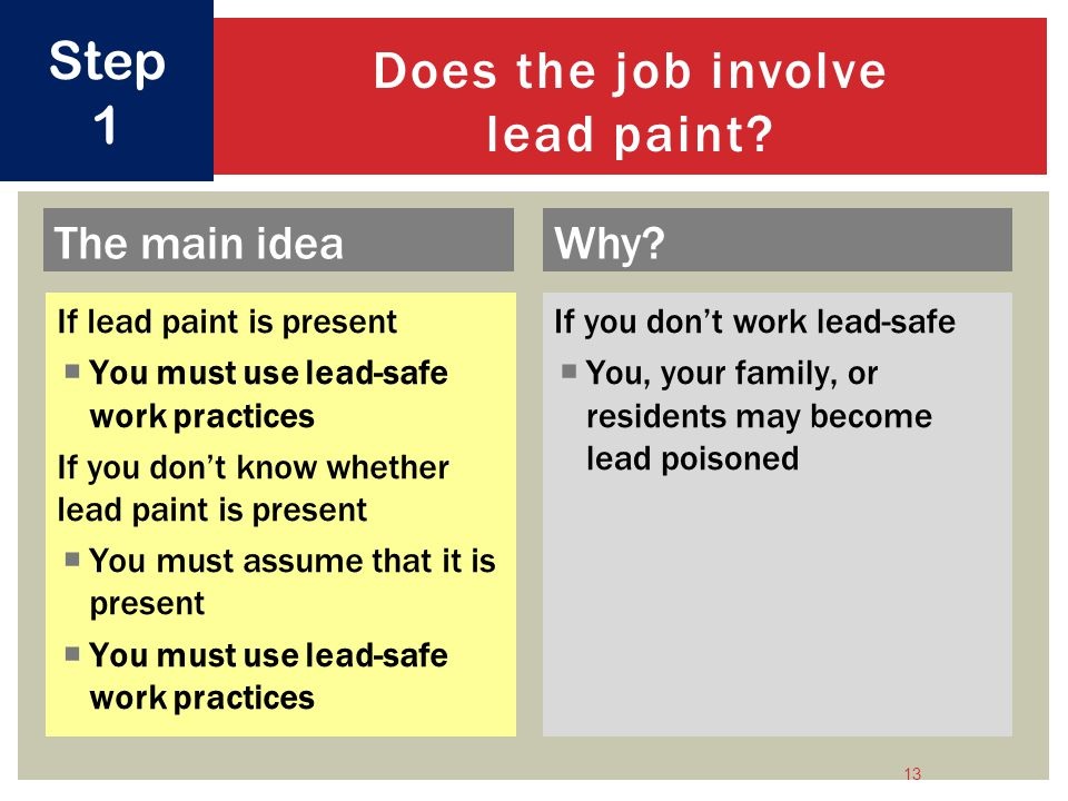 Does the job involve lead paint