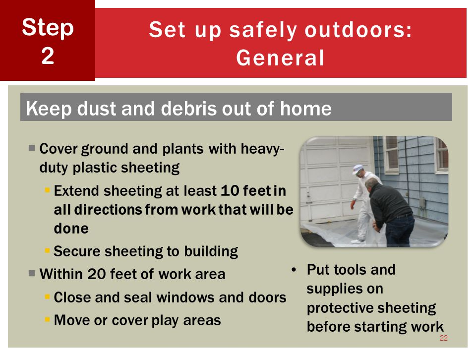 Set up safely outdoors: General