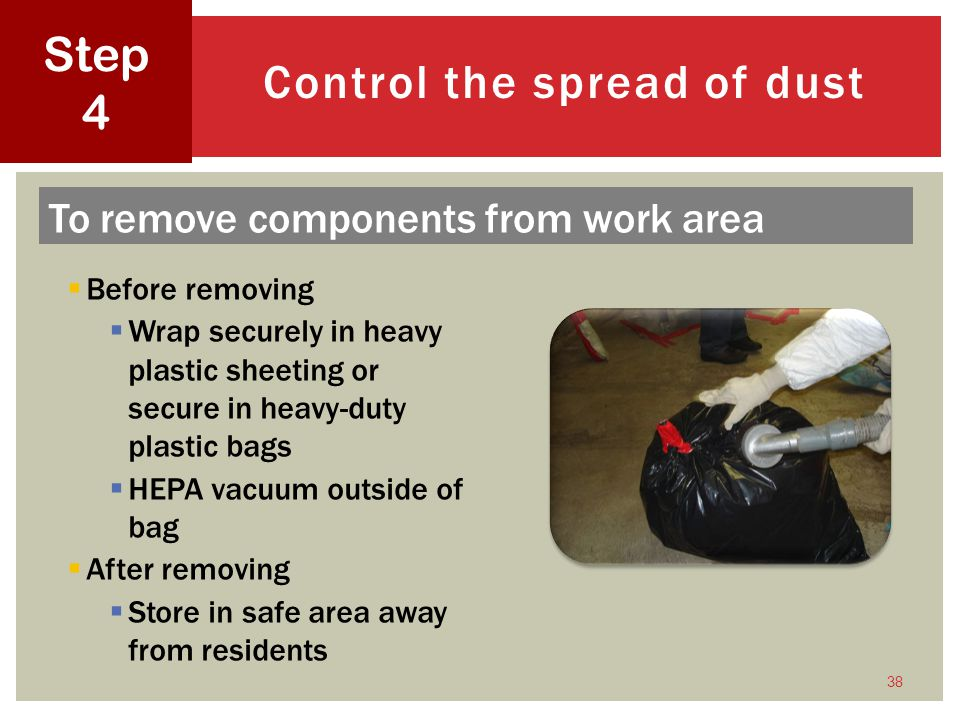 Control the spread of dust