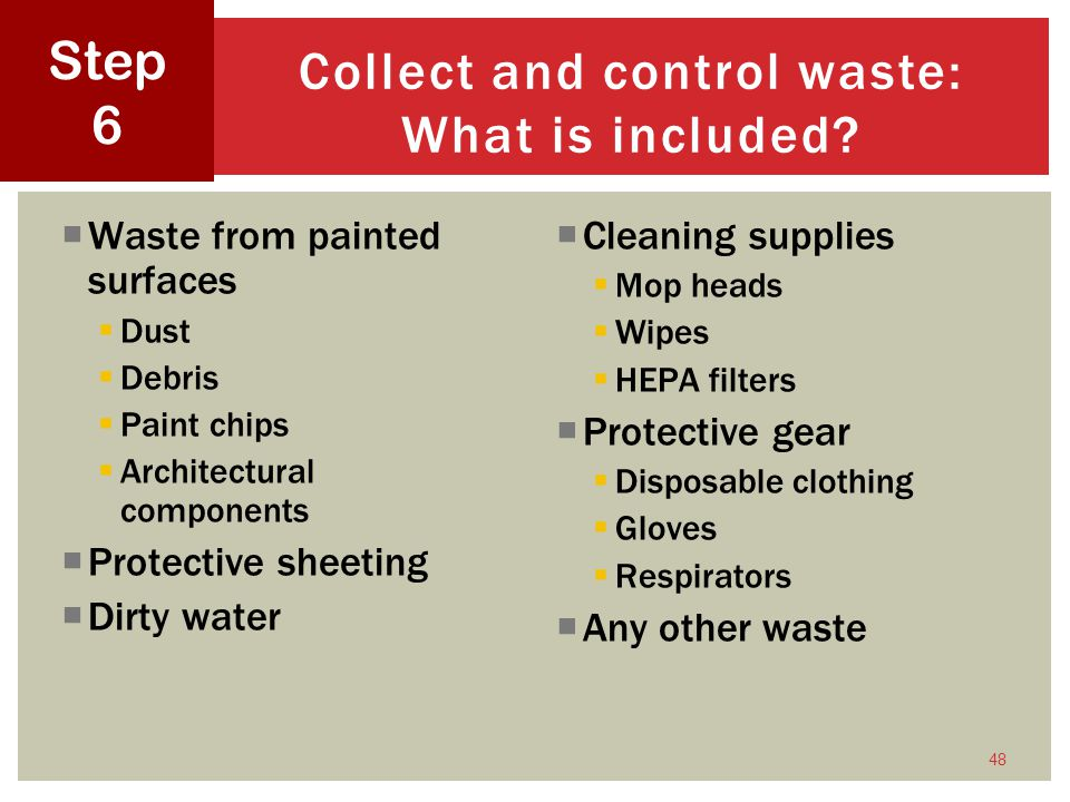 Collect and control waste: What is included