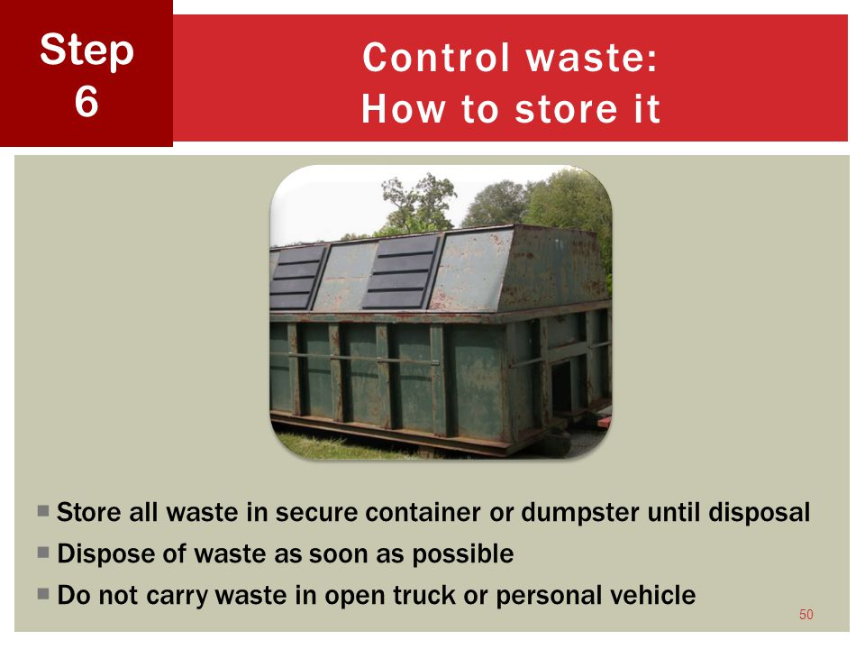 Control waste: How to store it
