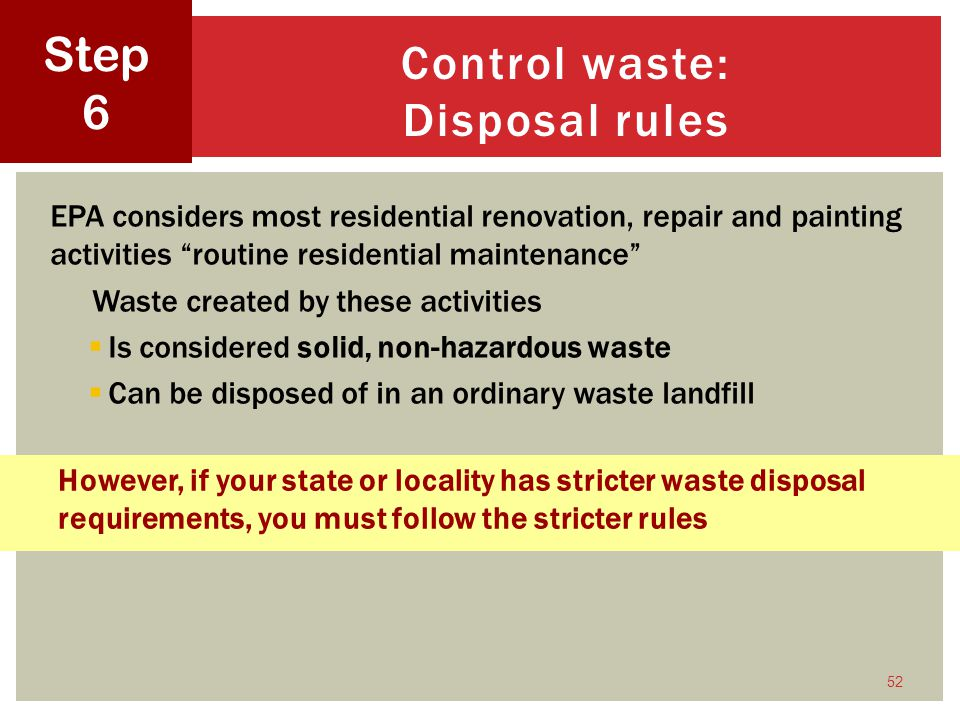 Control waste: Disposal rules