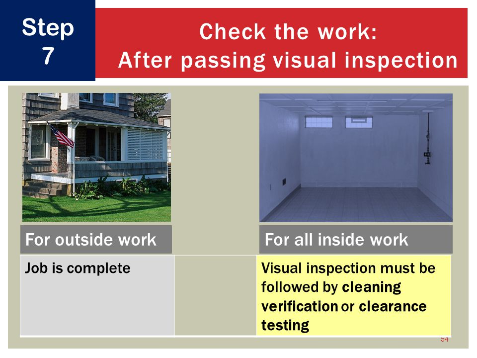 Check the work: After passing visual inspection