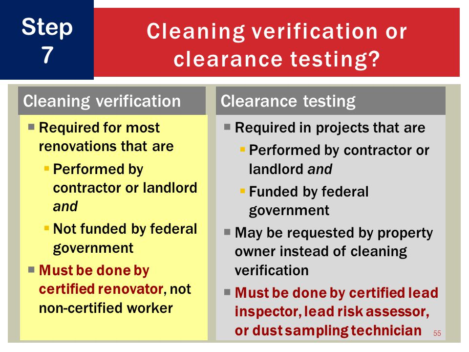 Cleaning verification or clearance testing