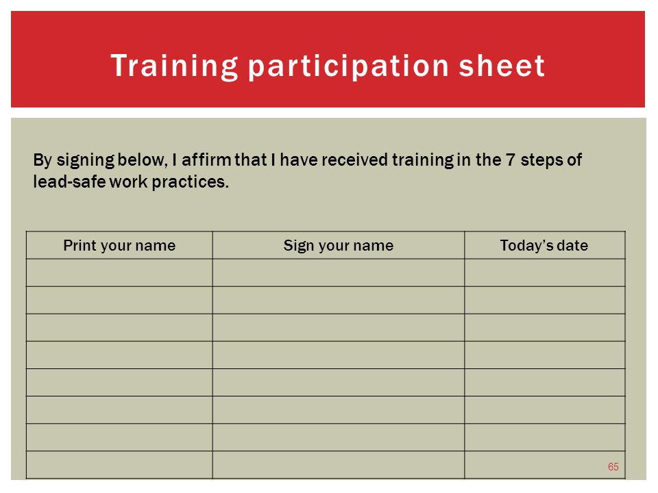 Training participation sheet