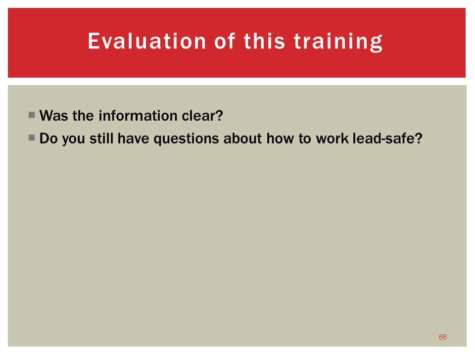 Evaluation of this training