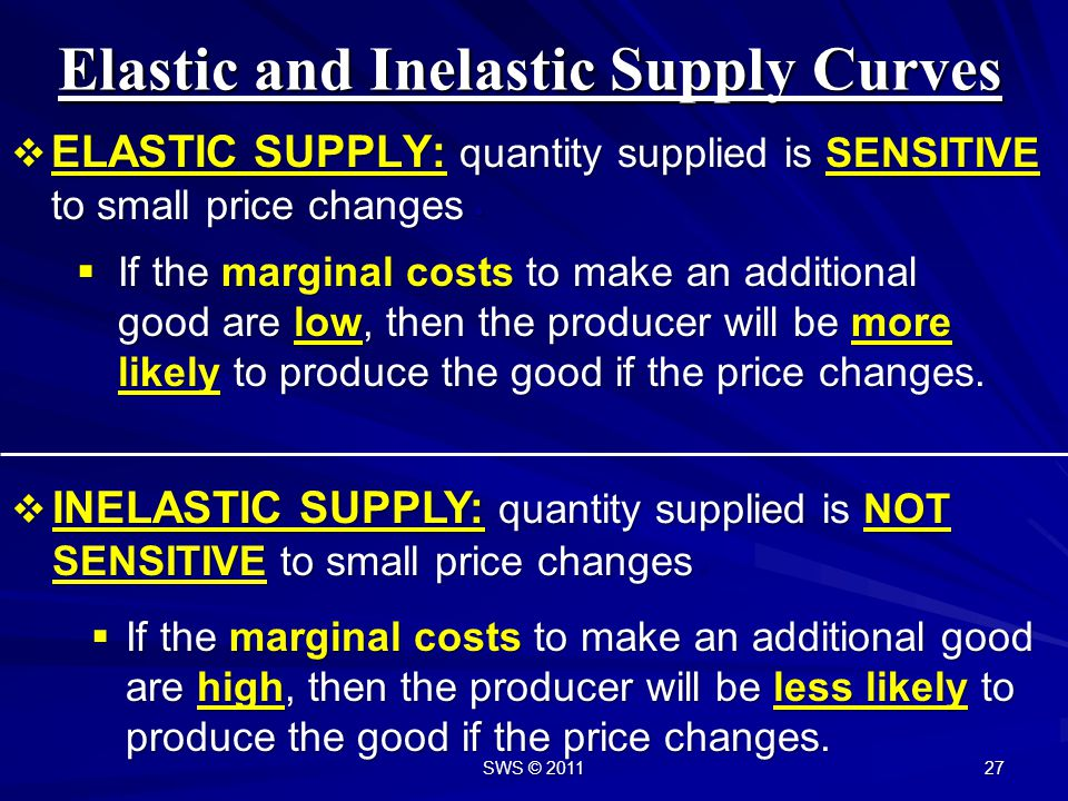 Elastic and Inelastic Supply Curves