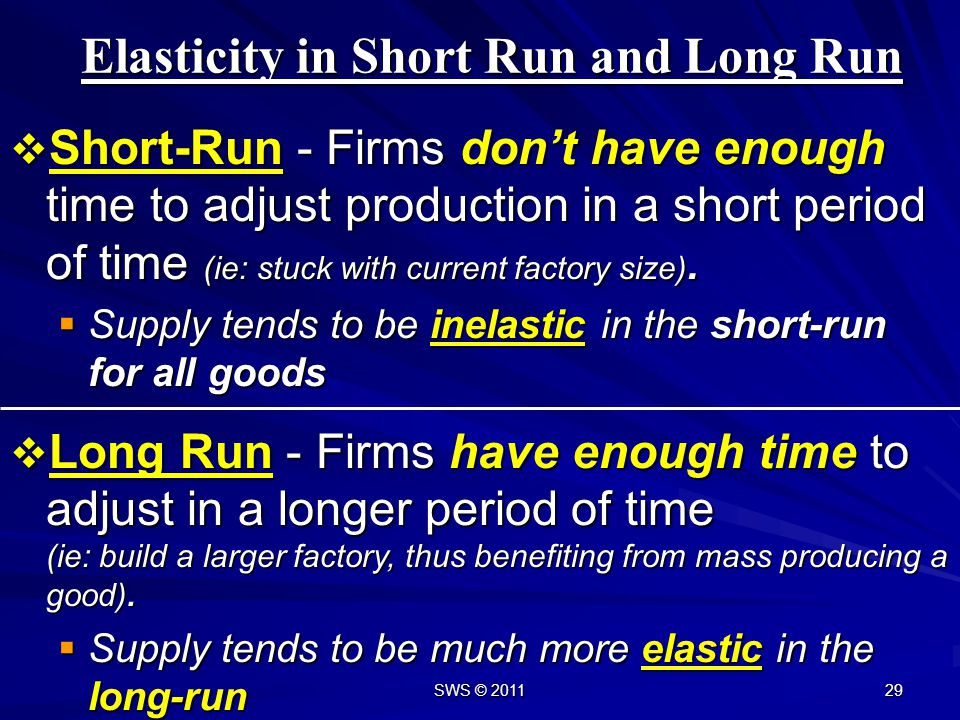 Elasticity in Short Run and Long Run