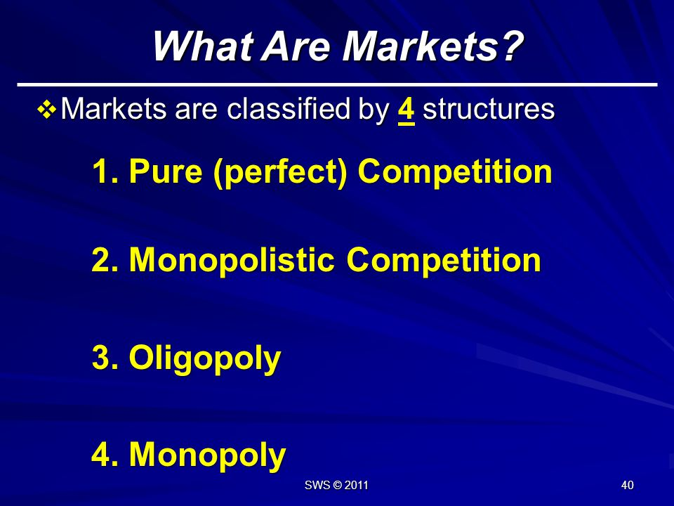 What Are Markets 1. Pure (perfect) Competition