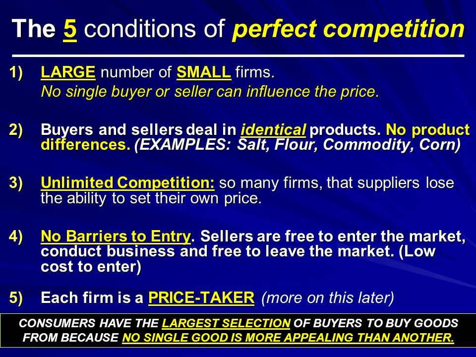 The 5 conditions of perfect competition