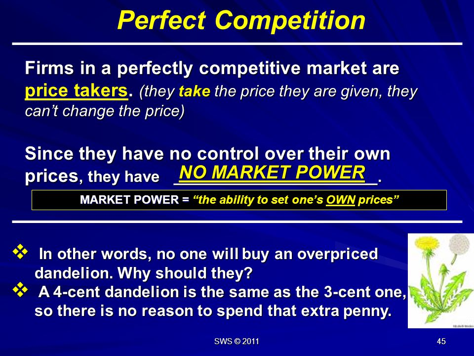 MARKET POWER = the ability to set one's OWN prices