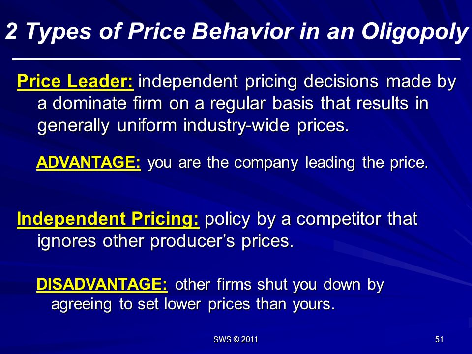 2 Types of Price Behavior in an Oligopoly