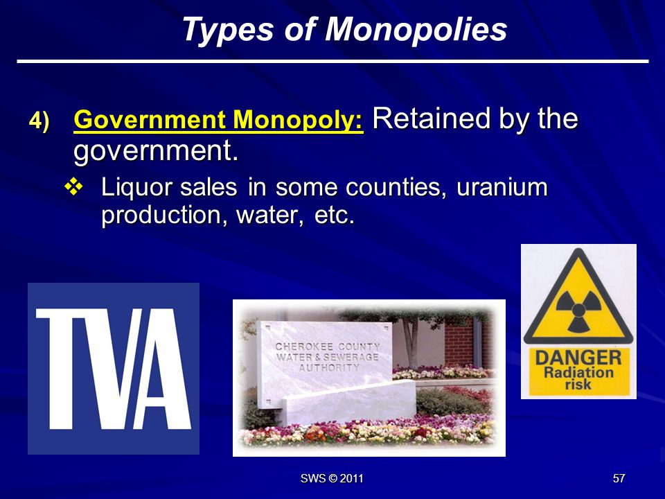 Types of Monopolies Government Monopoly: Retained by the government.