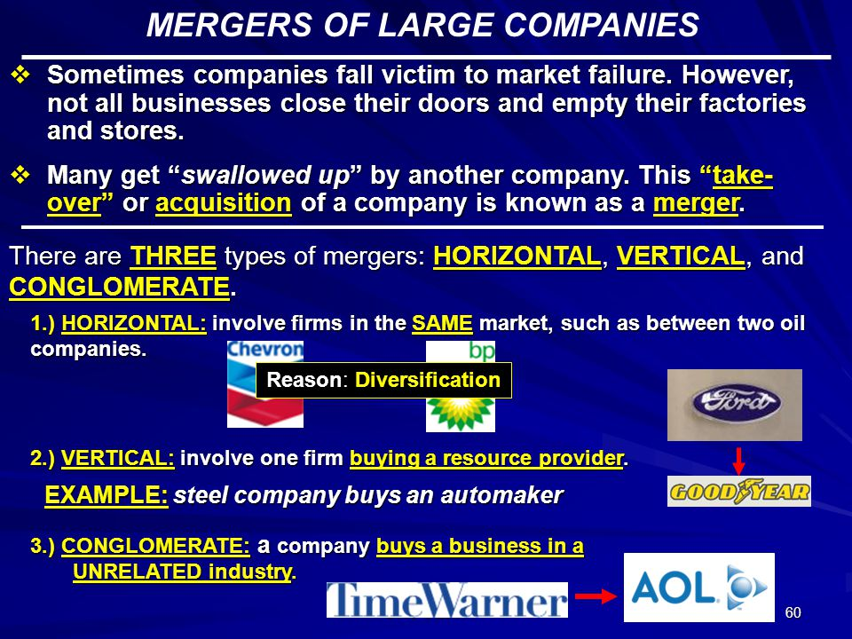 MERGERS OF LARGE COMPANIES