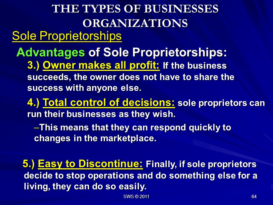 THE TYPES OF BUSINESSES ORGANIZATIONS