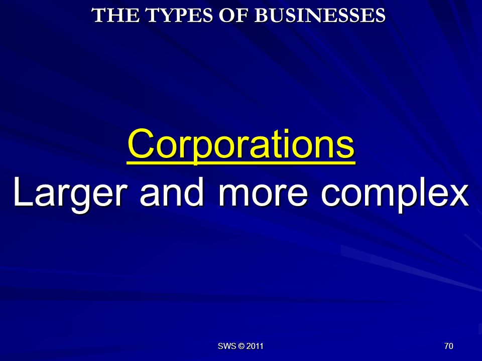 Corporations Larger and more complex