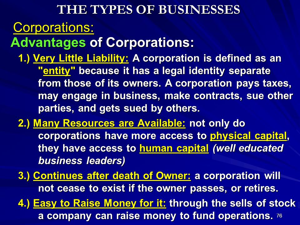 THE TYPES OF BUSINESSES