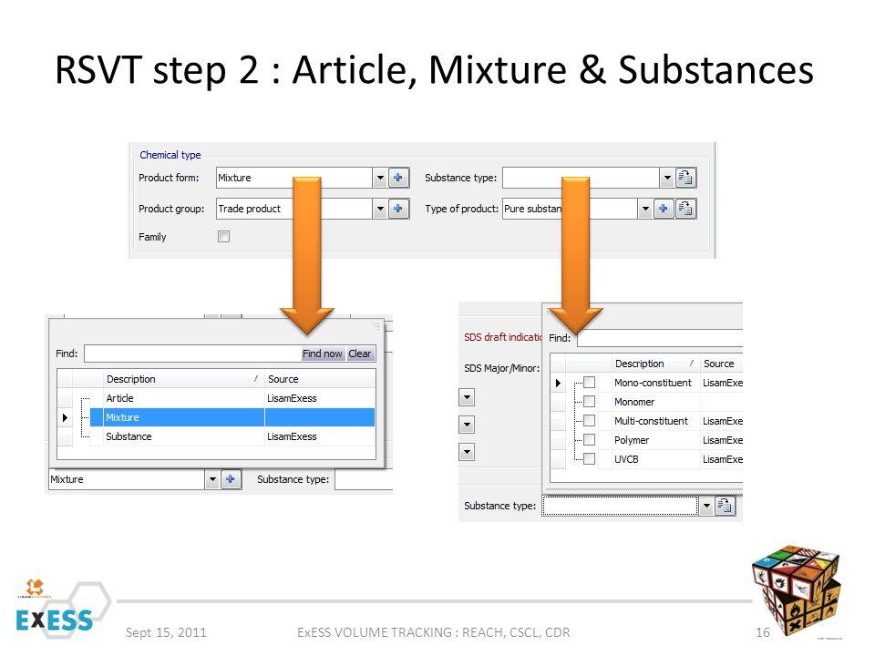 RSVT step 2 : Article, Mixture & Substances