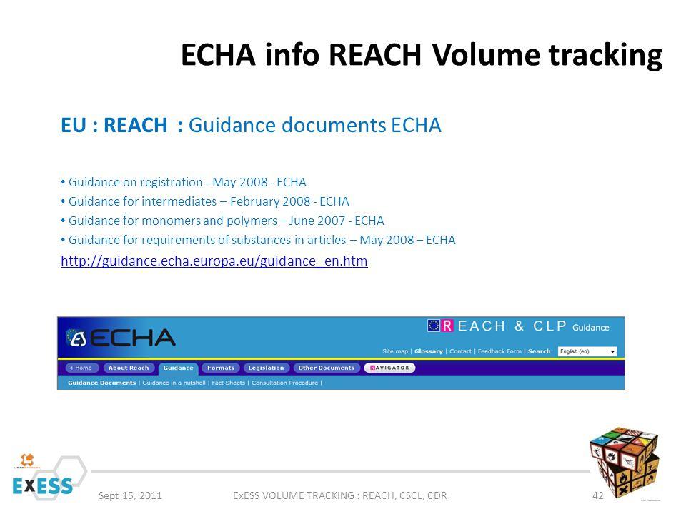 ECHA info REACH Volume tracking