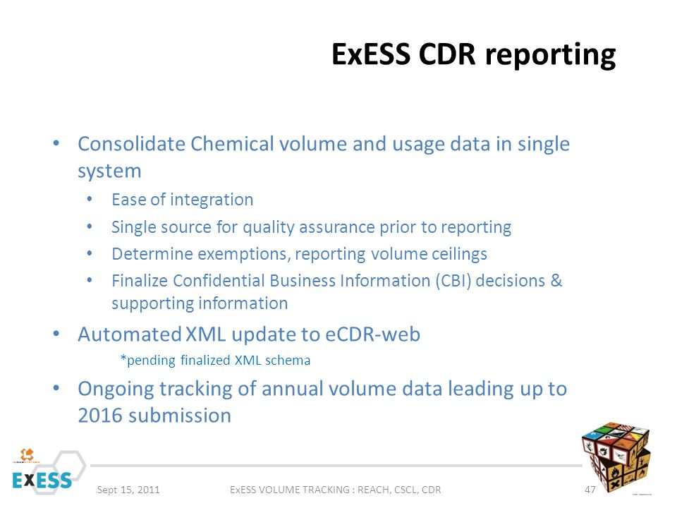ExESS VOLUME TRACKING : REACH, CSCL, CDR