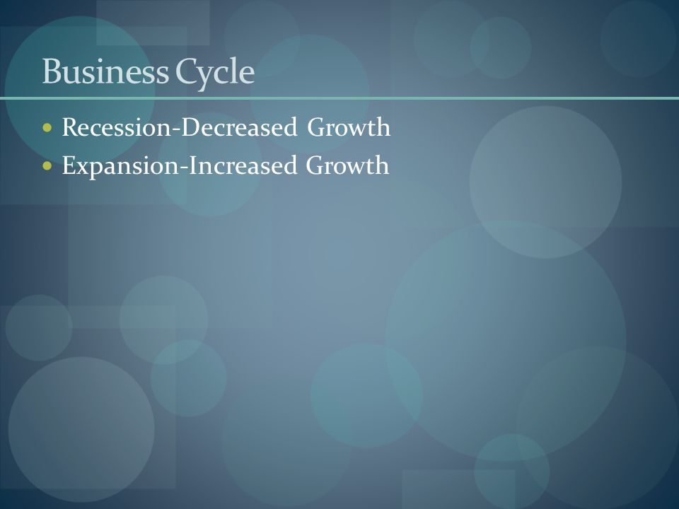 Business Cycle Recession-Decreased Growth Expansion-Increased Growth