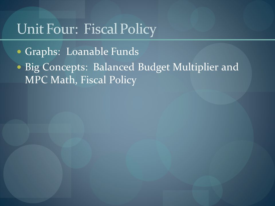 Unit Four: Fiscal Policy