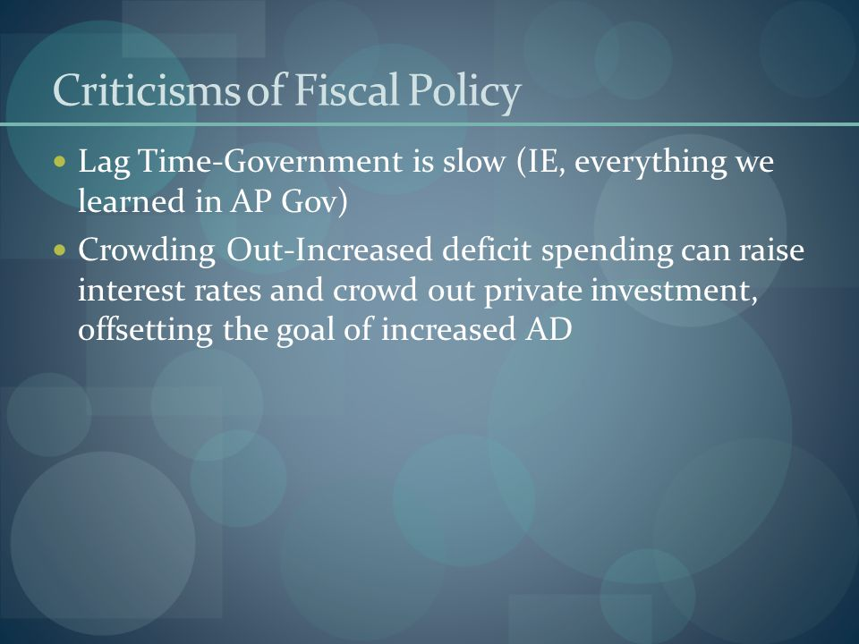 Criticisms of Fiscal Policy